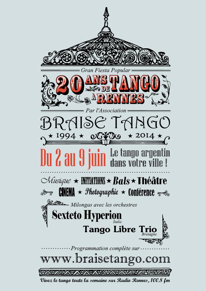 Vous trouverez le programme en version papier tout au long de la semaine des 20 ans et d'ici-là pendant les milongas de Braise Tango et dans les lieux partenaires. Vous pouvez aussi le télécharger ici en version numérique (pdf)