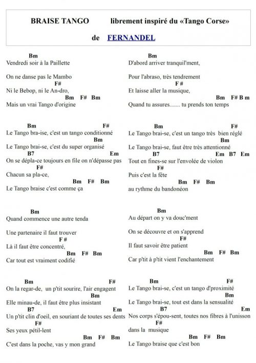Hymne à Braise Tango